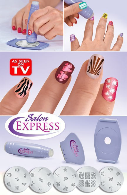 Salon Express New DIY Design Kit Professional Nail Art Stamp Stamping Polish Nail Decoration as seen on tv(China (Mainland))