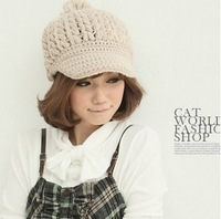 2014 Special Offer Freeshipping Solid Adult Casual Women Cotton Gorro Hats Beanie New Korean Winter Hat Knitted Cap Monochoria