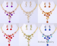 Hot Sale Free Shipping Fashion Africa Rhinestone Alloy Earring And Alloy Necklace Sets,Gold Plated.OPP+Card Packing