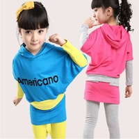 Children sportswear child set female child 100% cotton spring and autumn batwing shirt twinset