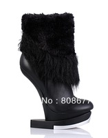 Discount Super Sexy Women Leather High Heels Ankle Boots Tassel No Heels Platform Shoes 2013 New
