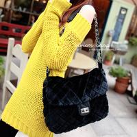 black bag small plush bag plaid bag cross-body shoulder bag female bags