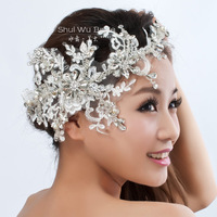 Free Shipping Fashion Handmade Lace Hairwear Wedding Bride Head Chain Luxury Rhinestone Wedding Accessories Hair Wholesale SW001