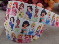 "2013 new arrival  7/8"" 22mm princess printed grosgrain ribbon cartoon character ribbon hair accessories 10 yards"