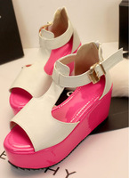 Fashion 2013 platform sandals bohemia women's genuine leather shoes platform wedges platform shoes