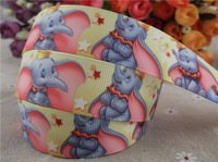 2013 new arrival  1''  25mm Dumbo printed grosgrain ribbon cartoon ribbon elephant animal ribbon 10 yards