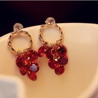 K007 boutique accessories shopmen goods married 3a ruby zirconium tassel earrings beautiful gold circle