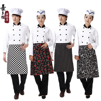 [20pcs/free ship] Top black white cook clothing work aprons black and white male chef apron  Kitchen Apron cook aprons supplier