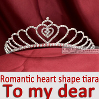 Romantic heart shape rhinestone bridal wedding tiara crown headwear MO-004