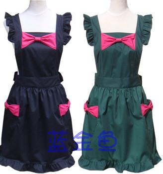 [20pcs/free ship] Aprons blue bow fashion home nail art fun  Domestic apron cotton Cloth aprons cotton supplier