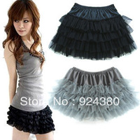 fashion candy color girl sexy mini skirt cake layer mesh M L spandex waist