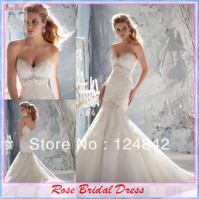 Aliexpress Custom Made Rose Bridal Dress Beaded Sweetheart Mermaid New Fashion Elegant Lace Wedding Dress(China (Mainland))