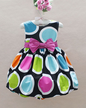 1PCS FREE SHIPPING! 2013 new baby girl cotton dresses fashion polka sleeveless party dress children bowknot dress in stock