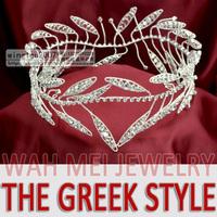 Rhinestone greek style headdress for wedding bridegroom prince king crown tiara MO-020