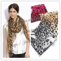 Skull 2013 leopard print silk chiffon super large silk scarf cape limited edition