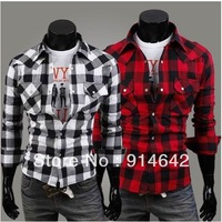 Fashion jewel button men's plaid shirt, cultivate one's morality men's cotton long sleeve shirt Free Shipping.009