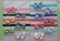 Free Shipping 20pieces/lot 7cm DIY Grosgrain ribbon Bow bowknot lace bowknot stripe bow with headband Hair Accessory 13 Colors