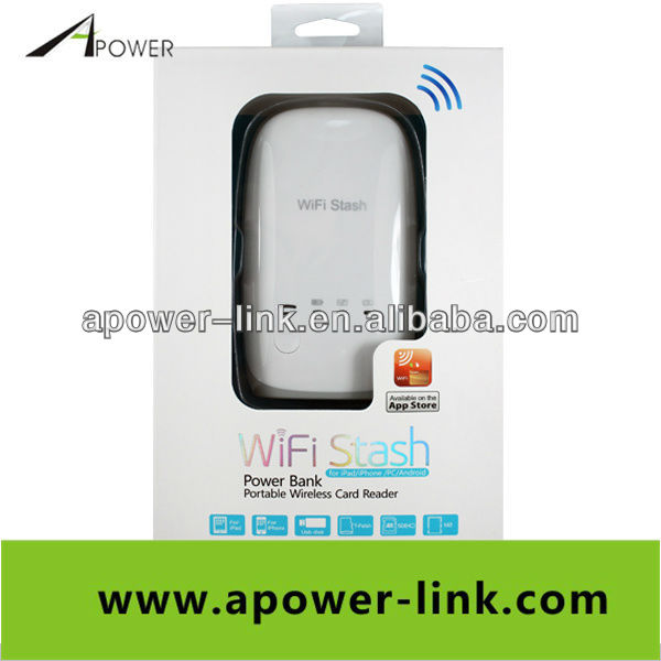 Portable WIFI stash power bank wireless card reader for ipad iphone PC Android white free shipping(China (Mainland))