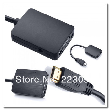New Measy H2V 1080P HDMI Male to VGA Female Cable Video Converter Adapter  Audio for PC Monitor Projector TV 20pcs/lot Via DHL
