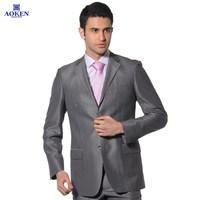 Aoken business casual grey wool silk suits slim