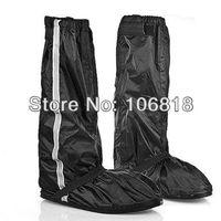 Men Motorcycle Waterproof Sealed Zipper Velcro Biker Black Shoe Gear Rain Boot Cover Safe Visible Reflective Bar US Size 10-11