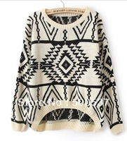 20pcs per lot Women's Geometry Design Printed Knitted Sweater Women Fashion Warm Loose Pullovers Casual Wear Plus Size vintage