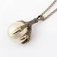 Fashion vintage eagle claw simulated-pearl pendant necklace Min. order $10 Free shipping HeHuanXL284