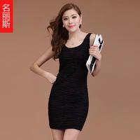 Summer women's 2013 plus size slim spaghetti strap vest basic skirt slim hip sleeveless one-piece dress