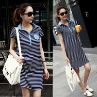 Plus size clothing summer mm one-piece dress navy style stripe short sleeve length skirt one-piece dress