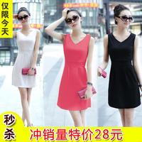 2013 V collar one-piece dress fashion all-match slim sleeveless tank dress basic skirt
