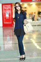 2013 new lady chiffon polka chiffon shirt with woven vest two-piece dress, 2 piece dress