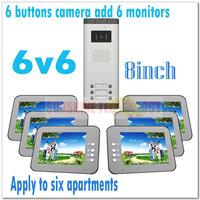"Multi-unit 8"" color video intercom systems/video door phones/Door bell for 6 apartments/Villas (6 keys camera add 6 monitors)"