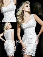 New Arrival 2013 Sheath Short  Elegant Beaded Mini Satin Cap Strap Beige Sexy Short Evening Dress Prom Party Dresses