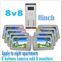 "Multi-unit 8"" color video intercom systems/video door phones/Door bell for 8 apartments/Villas (8 keys camera add 8 monitors)"