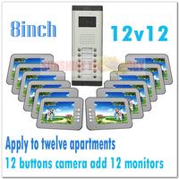 "Multi-unit 8"" color video intercom systems/video door phones/Door bell for 12 apartments/Villas (12 keys camera add 12 monitors)"