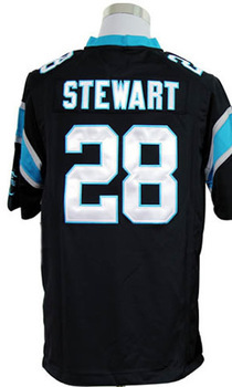 #28 Jonathan Stewart Men's Game Team Black Football Jersey(China (Mainland))