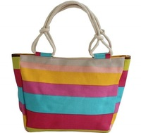 Cheap Designer Large Capacity Canvas Bags for Women Colorful Striped Casual Handbag Tote Shoulder Bag Shopping/Diaper Bags
