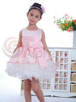 Free Shipping New Arrival Baby Girl Party Dress Pink Girls Wedding Dress Big Bowtie Tutu Gown Dress Evening Ball Dress