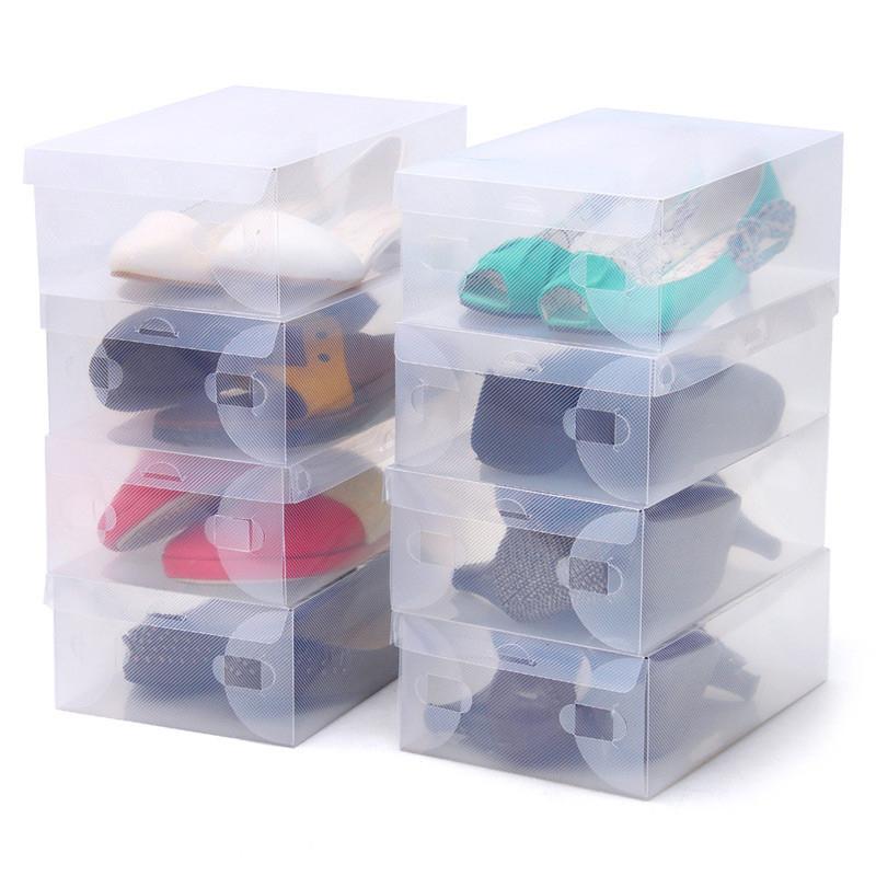 Thickening Transparent Women Shoe Box Storage Boxes Plastic 28cmx18cmx10cm Foldable Free Shipping(China (Mainland))