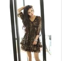 Women summer dress 2014 new fashion spring summer temperament mini casual ladies leopard chiffon vintage dress/free shipping