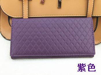 Pu dsmv women's square grid handbag wallet magnet clasp female long design embossed wallet boutique women's