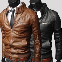 new Fashion transverse zipper short slim Leather Men leisure washed locomotive  collar PU high quality  3 color 4 size hot sale