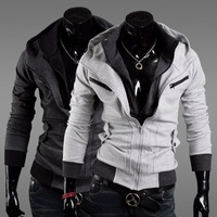 2012 HOT Spring new free shipping men Korean brocade hit color mosaic hooded slim Jacket Blazer