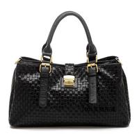 LUCKY ORANGE Handbag Woven Luggage Leather Lock Crossbody Overnight Bags Large Black Shoulder Bag Satchel Women Wholesales Brand