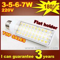 Free shipping BOPO Ultra bright flat lamp holder LED bulb 6W E27 LED corn lamp with SMD 180 degree Spot light plastic LED light