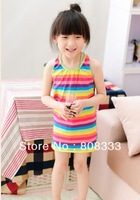 2013 Baby Girls Rainbow Sleeveless Dresses Cotton Kids Fairy Clothing Princess Summer Korean Style Children Clothes wholesale