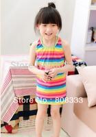 2013 Baby Girls Rainbow Sleeveless Dresses Cotton Kids Fairy Clothing Princess Summer Korean Style Children Clothes wholesale