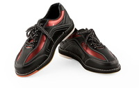 New Arrival  Classic Style  Leather  Quality  Men's Bowling shoes black with red stripe