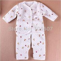 "Thickening newborn baby clothing, 2 pcs sets "" coat + split pants "" 1 sets/lot,comfortable 100% cotton wholesale"