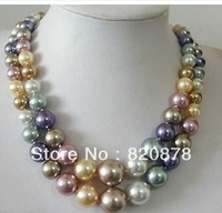 "Wholesale 2 Row 8-14mm Multicolor shell pearl necklace 18"" fashion jewelry"